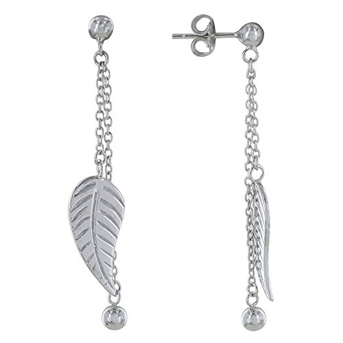 Les Poulettes Jewels - Sterling Silver Earrings Chain Ball and Leaf