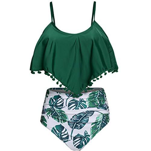 Damen Bikini-Set mit hoher Taille und zwei Teilen, gepolsterter Badeanzug aus massivem Mesh mit Quaste Mesh-Quaste mit farbigem Ball sexy Badeanzug mit hoher Taille swimsuit swimanzug swimwear