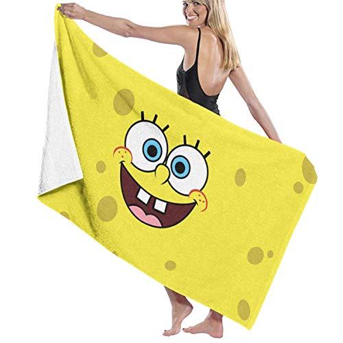 AGSIGGS - Toalla de playa de algodón con diseño de Bob Esponja absorbente de microfibra y toalla de secado rápido para mujeres, niños