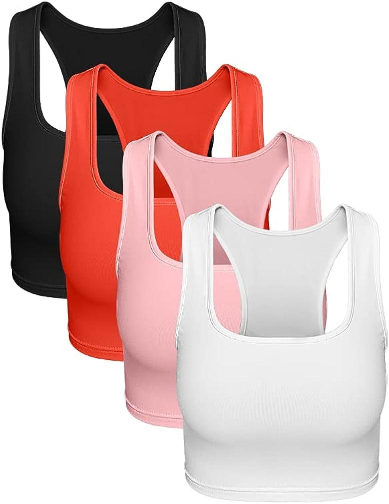 YMDUCH Women's 4 Pieces Soft Racerback Sports Classic Sleeveless Crop Tank Tops