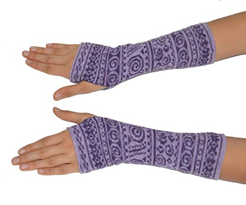 Invisible World Women's Alpaca Wool Fingerless Gloves Texting Typing Chimu Lilac Melange Purple