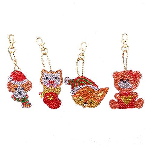 INJOYS Taschenzubehör, Schlüsselanhänger, DIY, Diamantgemälde, Anhänger, Rucksack, Schultertasche, Cartoon-Tier, 4 Stück