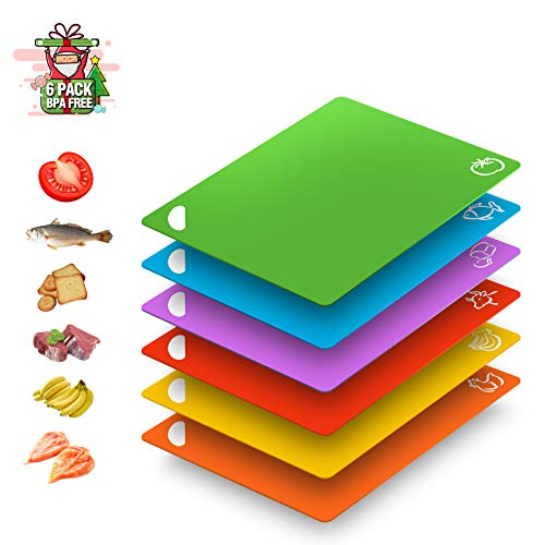Extra Flexible Large Thick Plastic Cutting Board for Kitchen Dishwasher Safe BPA Free Colored Food Icons Upgrade Non-Slip Designed