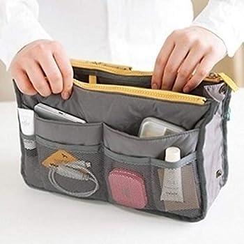 UUOUU Women Travel Insert Handbag Portable Multi-function Handbag Pouch Bag in Bag Organiser Purse Large liner Organizer Tidy Bag - Grey