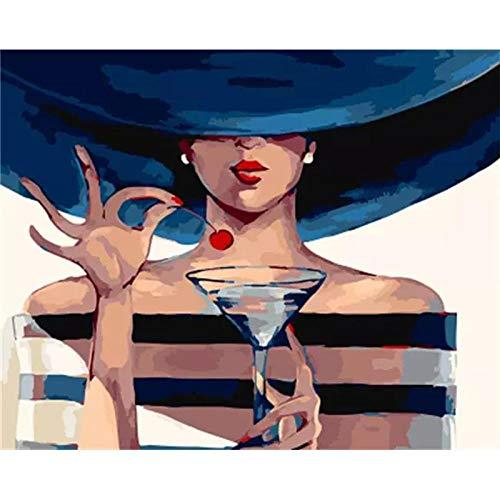 Jcpaint Verf Door Getallen Voor Volwassenen Schoonheid Vrouw Wijn Glas Diy Olie Schilderen Kits Digitale Schilderen Op Doek Met Borstels En Acryl Pigment Decoraties Geschenken 40X50 Cm Frameless