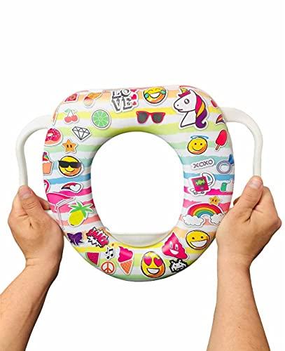 LACOSVI – Asiento Orinal Infantil De Alta Calidad Con Soporte de Agarre de Manos Formato Emojis se Adapta a Todo Tipo de Tazas Calidad Española (Emoji blanco)