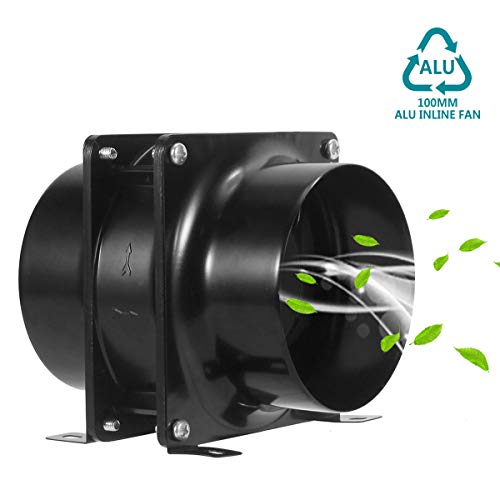 HG Power Axialer Abluftventilator Metall Rohrventilator Gebläse Kanalventilator 100mm Industrie Zuluft Abluft Ventilation Leise Inline-Lüfter Einschublüfter Axial Lüfter Badlüfter Absaug Rohrlüfter
