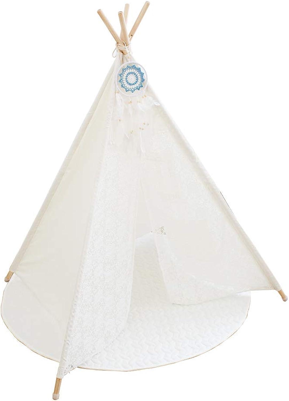 AcTek Tipi Zelt für Kinder Innen Draussen Kinder Spielzelt Spitze Teepee Indianerzelt Kinderzelt(145cm hoch) (Stil 1)
