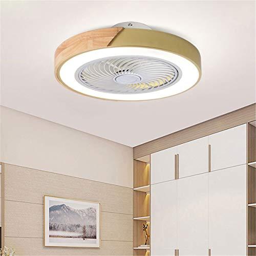 YAOXI - Lámpara de techo con ventilador y mando a distancia de madera, silencioso, ventilador de techo con LED, iluminación moderna, regulable, salón, 52 cm, lámpara ventilador de techo, color dorado