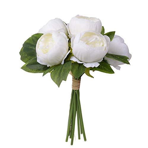 Maliyaw 6 UNIDS Flores Artificiales de Seda de Plástico Falsa Peonía Flor Simulación Bouquet Home Party Decoración de la boda Blanco/Amarillo