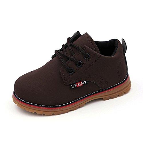Koly Moda Chicos Chicas Martín Zapatilla Botas Ata para arriba Niños Bebé Casual Zapatos (23, marrón)