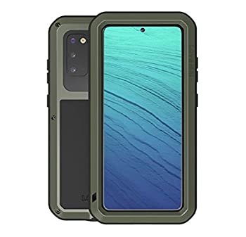 Love Mei for Samsung Galaxy S20 Case,Outdoor Sports Heavy Duty Waterproof Shockproof Dust/Dirt Proof Aluminum Metal+Silicone+Tempered Glass Case Cover for Samsung Galaxy S20 6.2inch  Green
