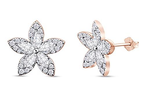 AFFY Pendientes de tuerca de oro de 18 quilates sobre plata de ley de 1 1/2 quilates con diamantes naturales blancos y talla redonda para ella (color I-J, claridad I2, 1,50 quilates),
