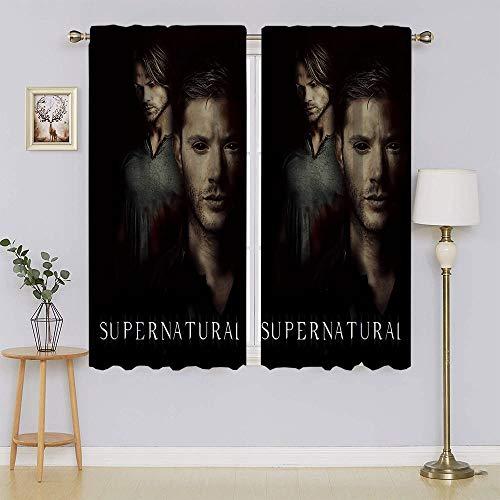 Supernatural TV Series Dean & Sam Winchester Poster Cortinas opacas, calor y bloqueo de luz completa, juego de tratamientos de ventana para dormitorio de 42 pulgadas de ancho x 54 pulgadas de largo