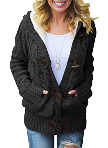 Dokotoo Femme Casual Manteau Chaud Hiver Veste à Capuche Gilet Chandail Cardigan en Tricots ,A-noir,XXL