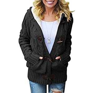 Women's Hooded Cardigans Casual Long Sleeve Button Up Cable Knit Swea...