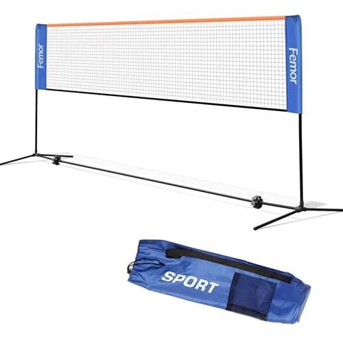 Femor Rete da Tennis,Badminton Portatile, 5M 2-in-1 Rete Tennis Pallavolo,Volano, Pieghevole, Altezza Regolabile con Supporto e Borsa