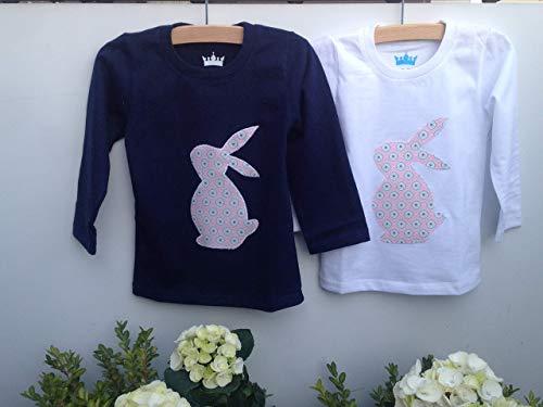 Baby-Kinder Hasen T.Shirt, Langarmshirt für Kinder, Ostergeschenk für Baby und Kind blau, weiß