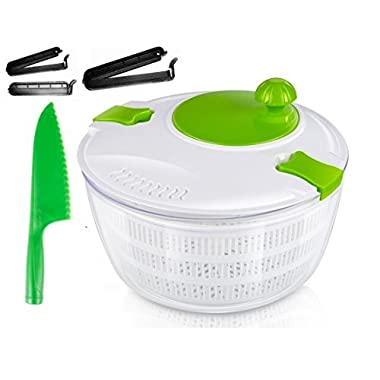 OLIVIA & AIDEN Salad Spinner Set - Includes Salad Spinner With Colander and Dishwasher Safe Bowl, Plastic Serrated Lettuce Knife, and 3 Airtight Bag Clips - Salad Prep Set
