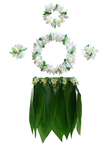 KEFAN Leaf Hula Skirt y Hawaiian Leis Set Grass Skirt con Flores de Hibisco Artificiales para Hula Costume y Beach Party (F)