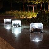 Uonlytech 4Pcs Luz Enterrada Solar Impermeable Luz de Ladrillo Solar en Forma Redonda Luz Enterrada Solar para Luz Blanca Al Aire Libre