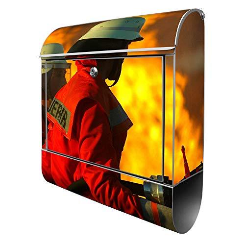 Banjado Design Briefkasten mit Motiv Feuer | Stahl pulverbeschichtet mit Zeitungsrolle | Größe 39x47x14cm, 2 Schlüssel, A4 Einwurf, inkl. Montagematerial
