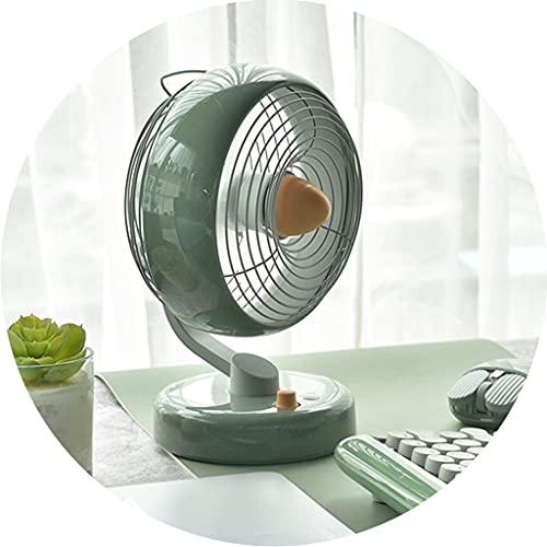 Ventiladores de sobremesa Ventilador De Cabeza Temblorosa Verde, Dormitorio De Escritorio, Aire Acondicionado Pequeño, Ventilador Portátil De Carga USB para El Hogar