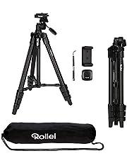 Rollei Smartphone stativ Traveler – flexibel och lätt smarttelefonstativ med inbyggd hållare för Bluetooth fjärrkontroll och smartphonehållare, inklusive Bluetooth fjärrutlösning – svart