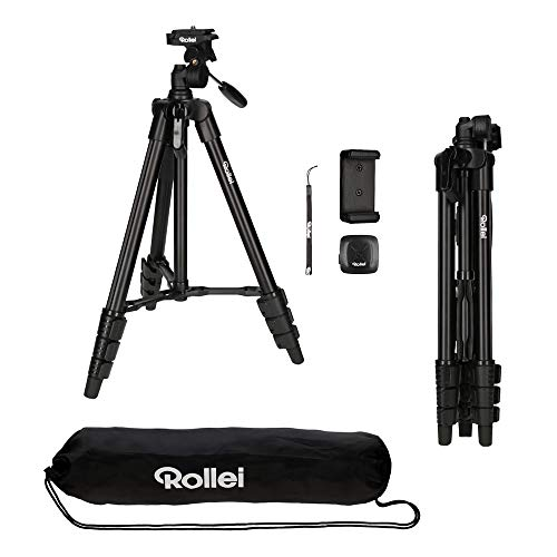 Rollei Smartphone Stativ Traveler I Ultra-leichtes Videotativ I bis 2kg Traglast I inkl. Stativkopf I Stativtasche I Bluetooth-Fernauslöser I Schwarz