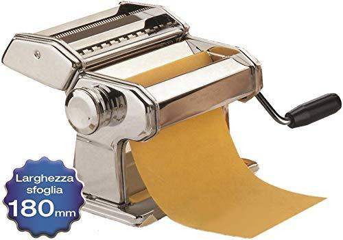 Maury's Sfogliatrice Macchina Per La Pasta Fresca Fatta in Casa all'Uovo per Fettuccine Tagliolini Funzionamento Manuale a Manovella Larghezza 180mm 9 Tagli in Acciaio e Rullo In Alluminio