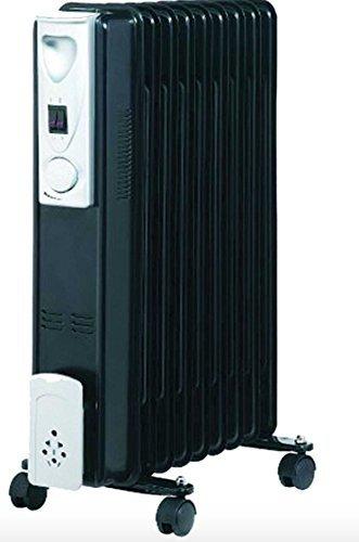 Wheels N Bits Portable 7 Fin 1500w Electric OIL FILLED RADIATOR Heater 3 Heat Settings Black
