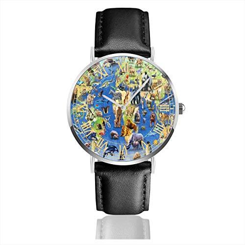 Kinderweltkarte und Tiere Herrenuhren Lederbänder Uhr Datum Sport Business Armbanduhr