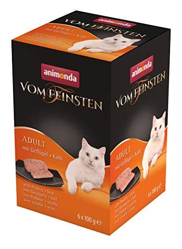animonda Vom Feinsten Adult Katzenfutter, Nassfutter für ausgewachsene Katzen,  mit Geflügel + Kalb, 6 x 100 g
