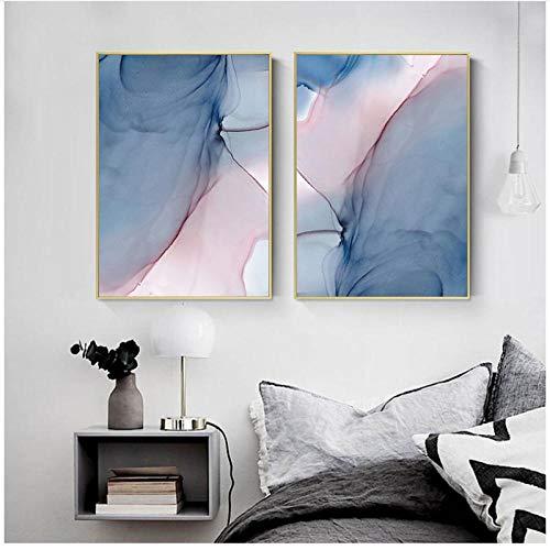 KELEQI Nordische Wandkunst Rosa Rose Romantische Liebe Bilder Leinwand Gemälde Poster Drucke Schlafzimmer Wohnaccessoires 50 x 70 cm x-2