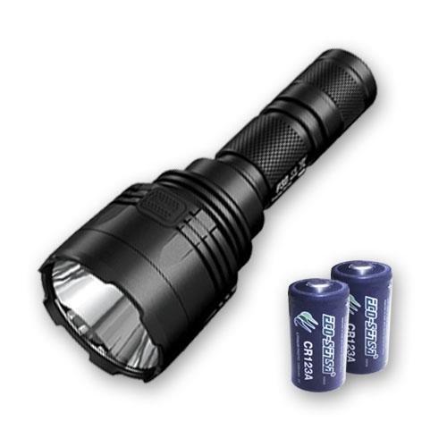 Nitecore P30 XP-L HI V3 - Linterna LED (1000 lúmenes, 676 yardas con 2 pilas Eco Sensa Premium CR123A)