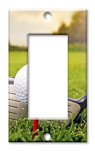 Art Plates Marken-Schalter/Wandplatte, Golfschläger und Ball Single Rocker