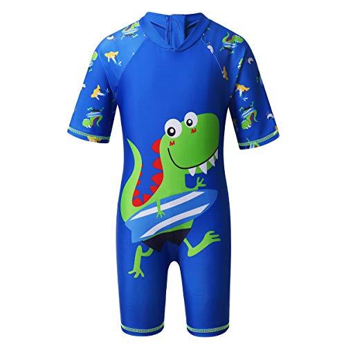 Yeahdor Jungen Bademode Schwimmanzug Kinder Hai Dinosaurier Badeanzug Kurzarm Einteiler UV-Schutz Bedebekleidung Swimsuit Gr. 86-110 Blau 104-110/4-5 Jahre
