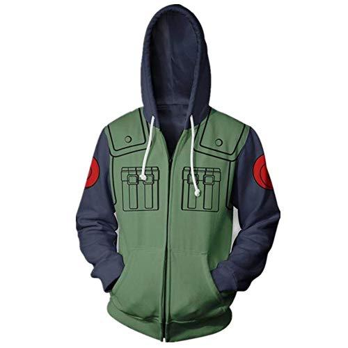 MANYU Anime Pullover Hoodie Kakashi Long Sleeve 3D Print Sweatshirt Cosplay Pullovers/Zipper Jackets (8, Large) Green