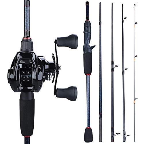 Hadristrasek Caña de Pescar Portátil Polo 5 Sección Pesca Rod del Bastidor y 12 + 1BB 7,0: 1 Relación de Engranajes de Baitcasting Carrete de Pesca Set-2. 4M y la Mano Izquierda Varilla Colgante