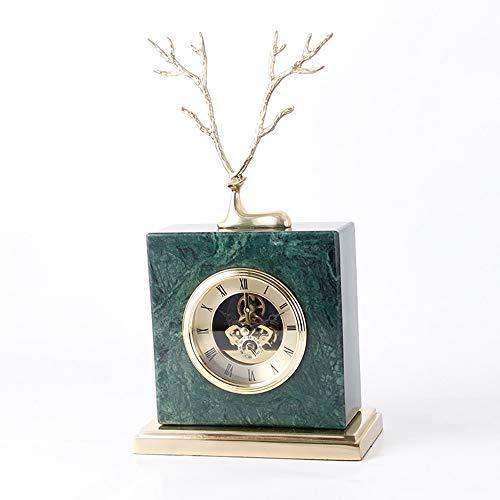 Mädel Desktop Dekorationen Marmor Tischuhr Wohnzimmer Schlafzimmer Stille Uhren Reines Kupfer Ornamente Kunsthandwerk (Farbe : Green)
