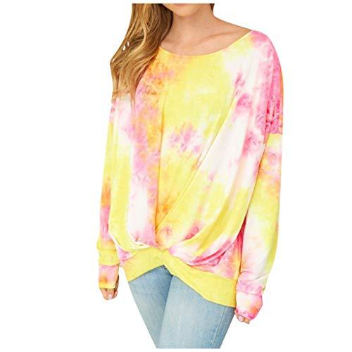 KANGMOON Women's 2020 Tie Dye Sweatshirt Comfy Casual Twist Knot Tunics Tops Blouses Tshirts Pullover Shirts Sweater