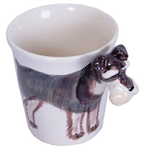 b2see 3D Schnauzer/Hund-e Tasse 3D/Becher lustig/Keramik Schnauzer/Hund-e Deko-Ration-Figuren/Geschenk