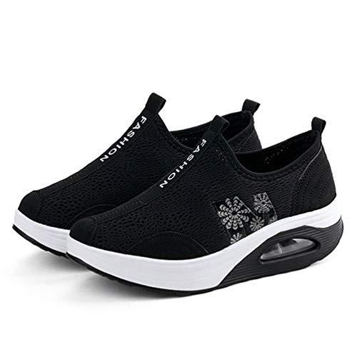 Zapatillas clásicas de Malla Transpirable con Plataforma Plana para Mujer Zapatillas Ligeras con amortiguación de Aire de Altura Interior Zapatillas Gruesas con amortiguación de Fondo Suave