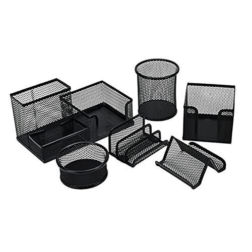 Fransande - Juego de 6 piezas de metal para escritorio o escritorio, color negro