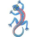 HEMOTON Eidechse Wanddeko Metall Wohnzimmer Figur Deko Objekt Gecko Gartendeko Tiere Eisen Gartenfigur Wandskulptur Garten Dekofigur Tierfiguren Statue für Terrassen Dekoration