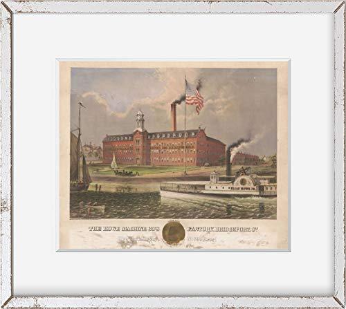 Foto: máquina de Howe de la empresa Factory, Bridgeport, Connecticut, CT, Elias Howe barco de vapor