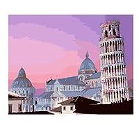 数字によるDIY絵画風景の木油絵家の装飾手描きのキャンバスデッサンギフト40×50cm(フレームなし)