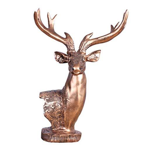 YIGEYI Européen Rétro Résine Art Elk Tête Bon Augure Décoration De La Maison Ornements d'animaux Salon Sculptures Décoratives (Couleur : B)
