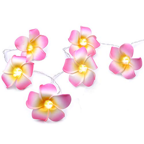 AceList Luau Hawaii-Party-Dekoration, rosa Plumeria-Blume, 20 LED-Lichterkette, Hochzeit, Strandparty