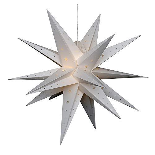 Dekohelden24 Étoile de l'Avent en plastique à rabattre - Diamètre : 80 cm - Avec 18 pointes - Couleur : blanc - Éclairage LED et adaptateur inclus - Convient pour l'intérieur et l'extérieur.